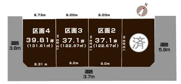 新潟県新潟市江南区亀田中島1丁目の区画図