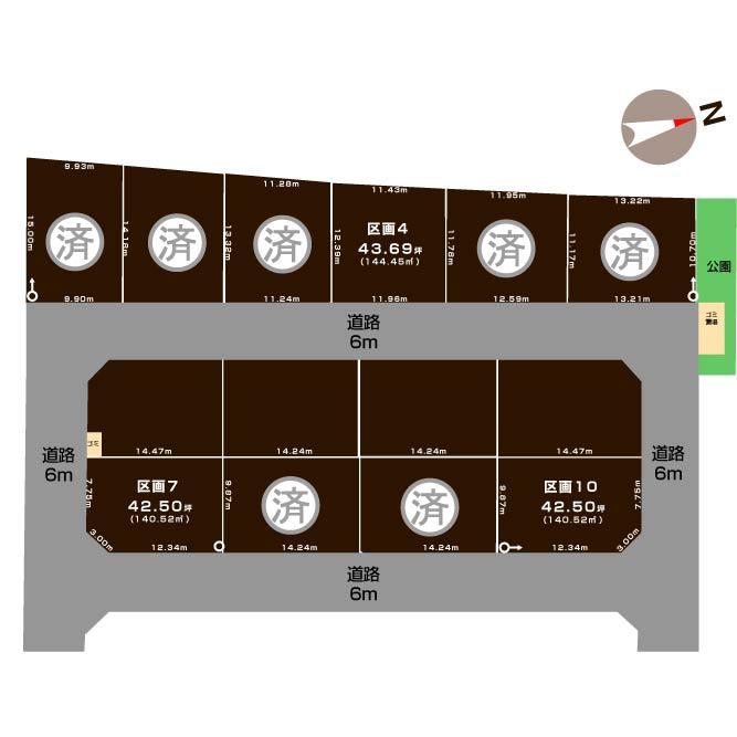 新潟県新潟市東区海老ケ瀬新町の区画図