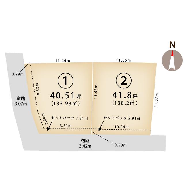新潟県新潟市江南区城所1丁目の区画図