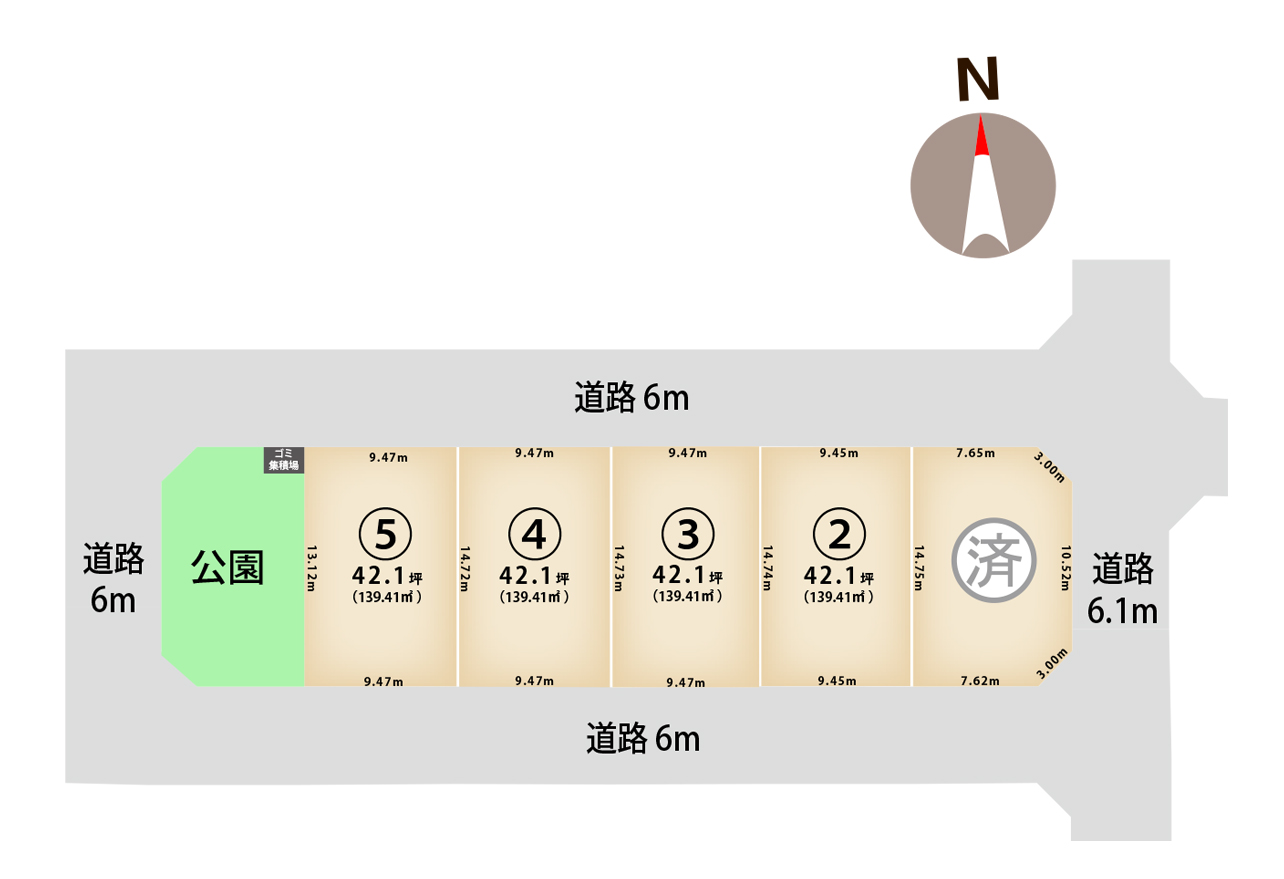 新潟県新潟市江南区所島2丁目の区画図
